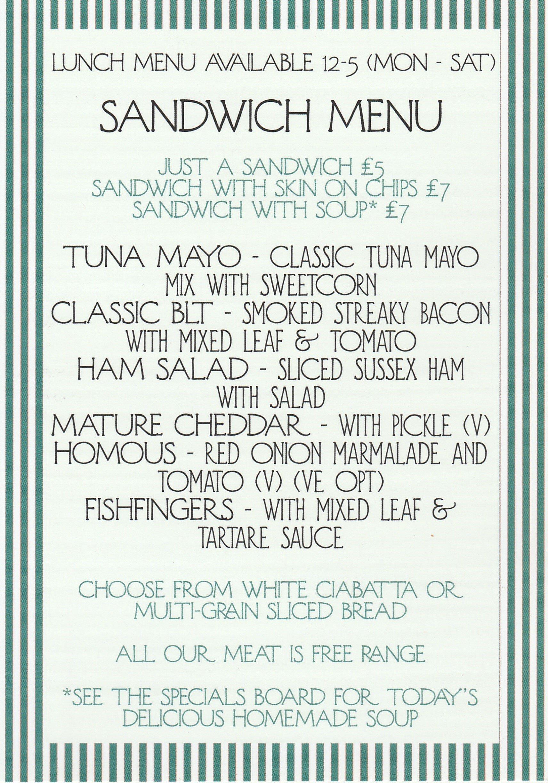 Sandwich Menu Page 1