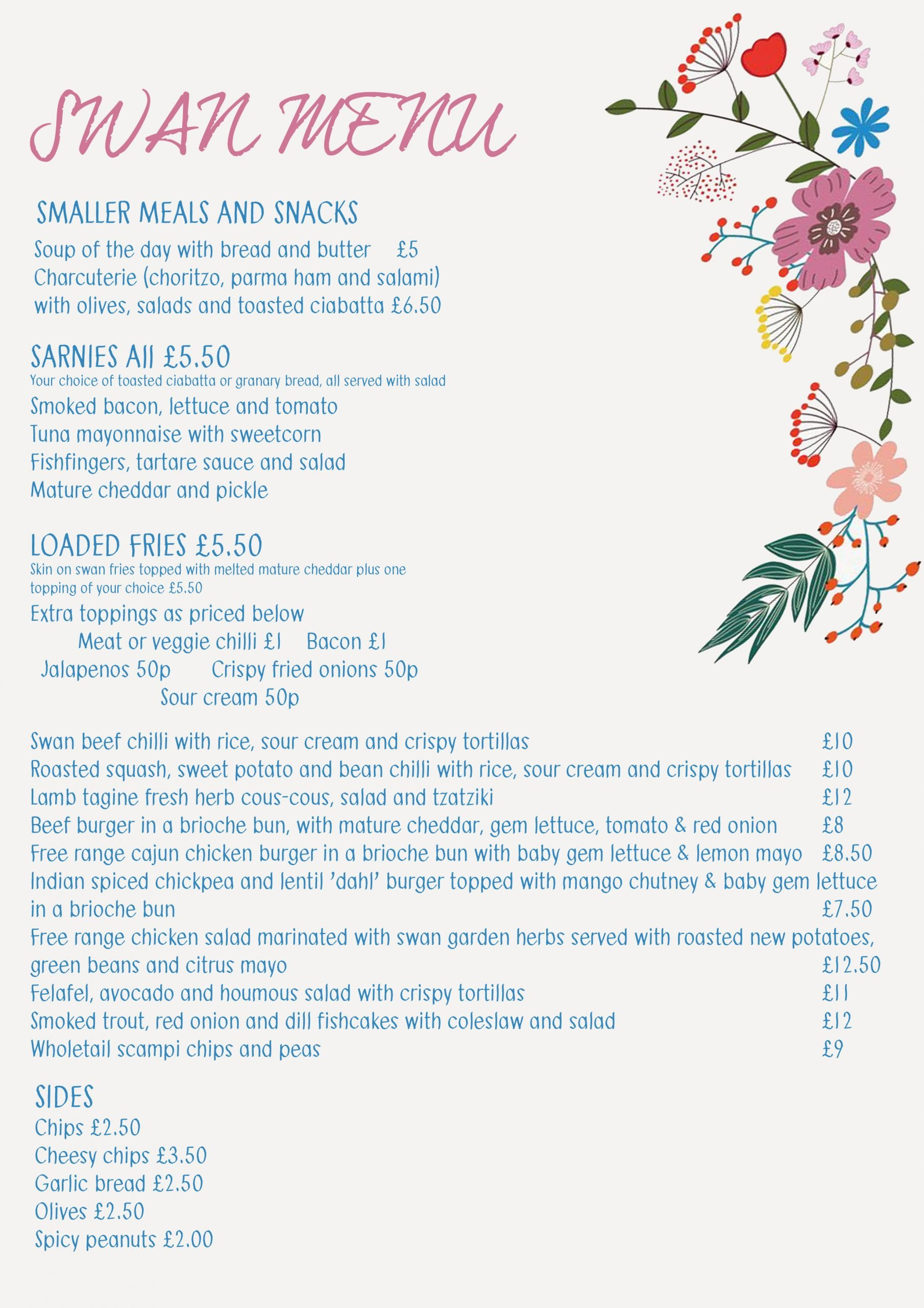 Swan Take Away Menu July 2020